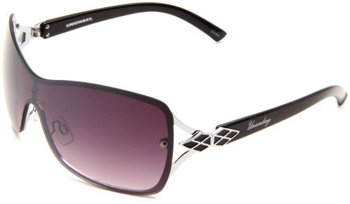 UNIONBAY Union Bay Women's U471 Shield Sunglasses,Silver Frame,Smoke Gradient Lens,One Size