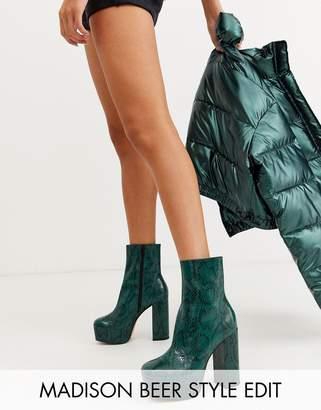 Asos Design DESIGN Eclipse leather platform ankle boots in green snake