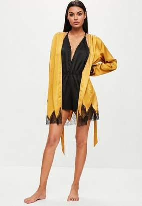 Missguided Gold Satin Lace Insert Robe