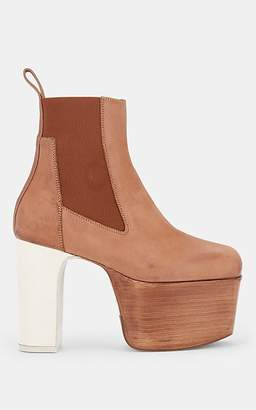 Rick Owens Women's Elastic Kiss Leather Platform Ankle Boots - Beige, Tan