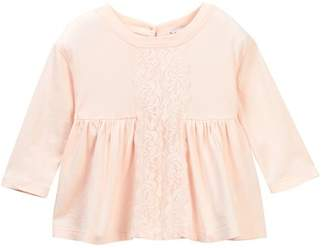 Splendid Long Sleeve Lace Insert Top (Baby Girls)