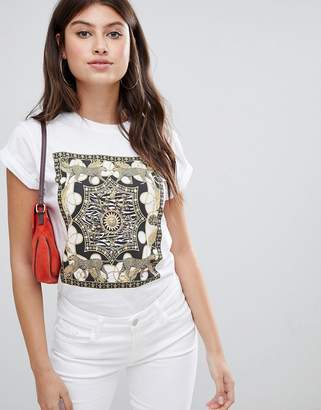 Asos Design DESIGN t-shirt with vintage animal scarf placement print