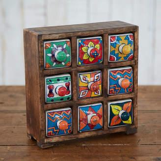 At Notonthehighstreet Paper High Mango Wood Nine Ceramic Drawer Jewelley Box