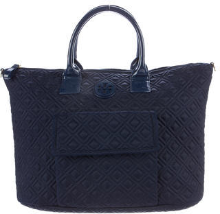 Tory BurchTory Burch Quilted Patent Leather-Trimmed Satchel