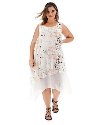 Apricot Printed Layered Dress