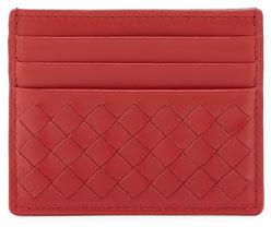Bottega VenetaBottega Veneta Intrecciato Leather Card Case, China Red