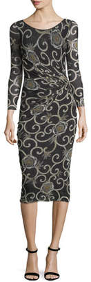 Fuzzi Scroll Floral-Print Dress