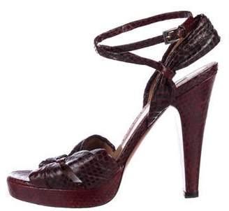 Alaia Python Ankle-Strap Sandals