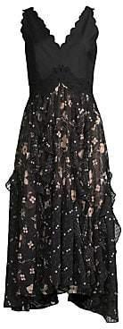 Rebecca Taylor Women's Daniella Floral Midi Flare Dress