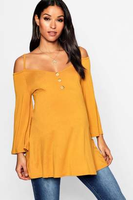 boohoo Maternity Cold Shoulder Horn Button Swing Top