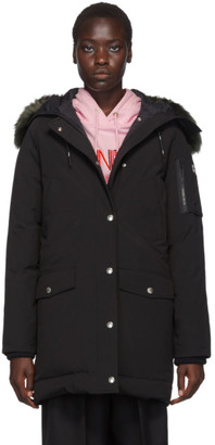 Kenzo Black Down Long Faux-Fur Hooded Jacket