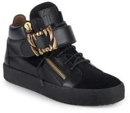 Giuseppe Zanotti Fanged Strap Leather Sneakers