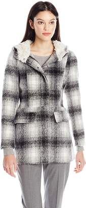 Madden-Girl Women's Wool Coat with Sherpa Lining