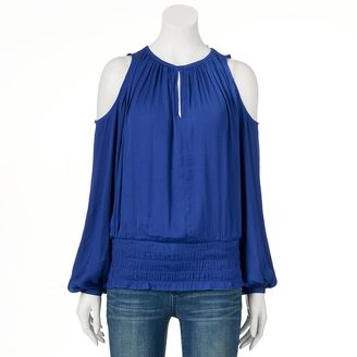 Women's Jennifer Lopez Smocked Cold-Shoulder Top $48 thestylecure.com