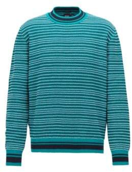 BOSS Hugo Multi-textured striped sweater in cotton jacquard M Green