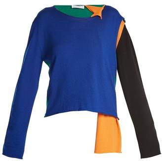J.W.Anderson Asymmetric Colour Block Sweater - Womens - Blue Multi