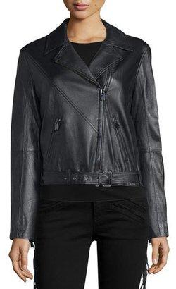 Haute Hippie Lamb Leather Lace Up Fringe Jacket, Black $1,295 thestylecure.com