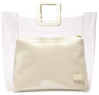 STAUD Shirley Large Leather & Pvc Tote Bag - Womens - Cream