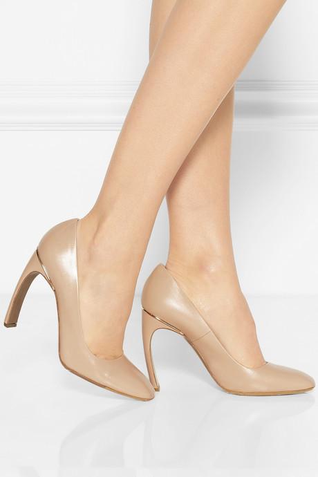 Nicholas Kirkwood Square-toe glossed-leather pumps