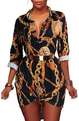 WO-STAR Women Long Sleeve Plus Size Casual Button Down Shirt Dress M