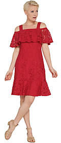 Isaac Mizrahi Live! Lace Ruffle Cold ShoulderDress