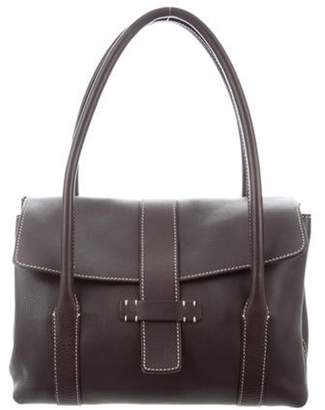 Loro Piana Grained Leather Shoulder Bag Brown Grained Leather Shoulder Bag
