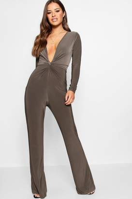 boohoo Petite Knot Front Plunge Jumpsuit