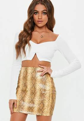 Missguided White Long Sleeve Sweetheart Neck Crop Top, White