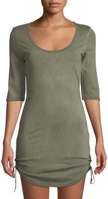 Pam & Gela 1/2-Sleeve Scoop Neck Tie-Hem Dress