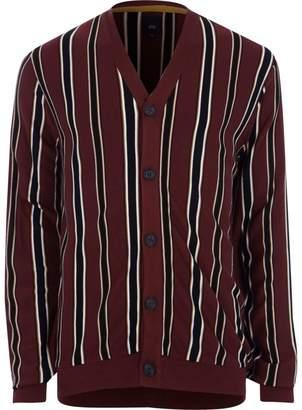 River Island Mens Burgundy stripe knit cardigan