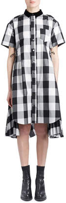 Sacai Short-Sleeve Button-Down Buffalo-Check Poplin Swing Dress w/ Cutout Back
