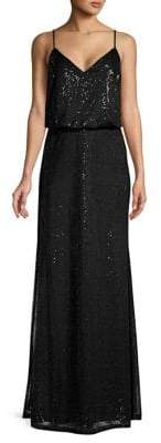 Calvin Klein Sequin-Embellished Floor-Length Gown