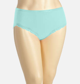 Avenue Iced Aqua Cotton Modern Brief Panty with Lace