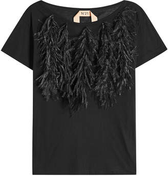 N°21 Cotton T-Shirt with Ostrich Feathers