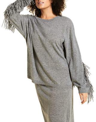 Marina Rinaldi Plus Size Crewneck Sweater with Fringed Sleeves