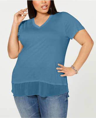 INC International Concepts I.n.c. Plus Size Short-Sleeve V-Neck Tunic