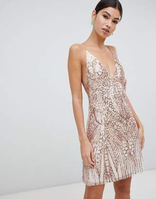 Love Triangle sequin embellished cami dress in rose gold