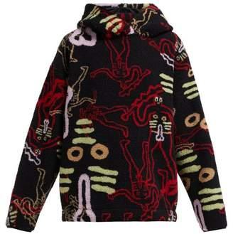 Aries Cerne Giant Printed Hooded Fleece - Womens - Black Multi