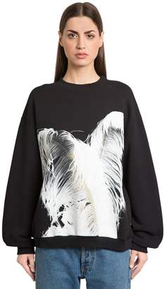 Maison Margiela Feather Print Cotton Sweatshirt