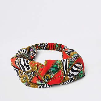 River Island Womens Red scarf print wide twist headband