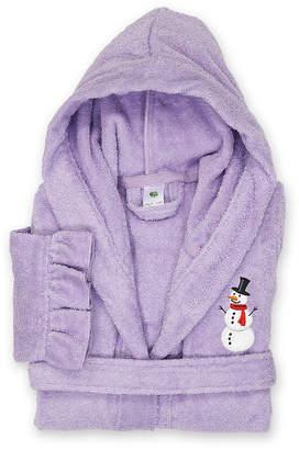 Asstd National Brand Linum Kids 100% Turkish Cotton Hooded Terry Bathrobe With Ruffle - Snowman Design