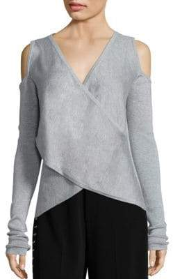 Derek Lam 10 Crosby Cross Front Silk & Cashmere Blend Sweater