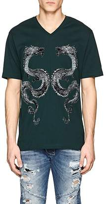 Pierre Balmain MEN'S DRAGON-PRINT COTTON T-SHIRT
