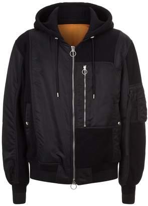 Solid Homme Hooded Sweatshirt Bomber Jacket