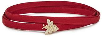 Apm Monaco APM Monaco Bee-embellished Ribbon Wrap Choker
