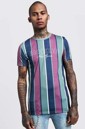 boohoo Brooklyn Slogan Vertical Stripe T-Shirt