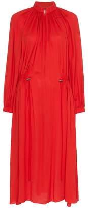 Tibi high neck drawstring midi dress