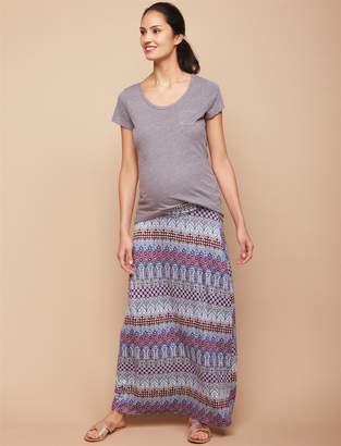 f368aa98b56ac Motherhood Maternity Under Belly Smock Waist Maternity Maxi Skirt- Tribal  Print