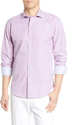 Bugatchi Shaped Fit Gingham Cotton Sport Shirt