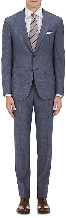 CanaliCanali Men's Mini-Houndstooth Wool Two-Button Suit-Blue